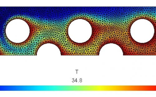 Temperature field in the heat exchanger