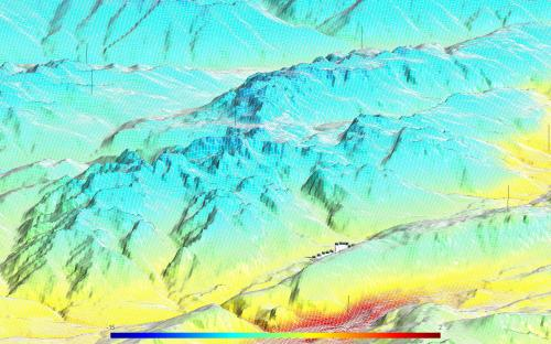 Estimated temperature on a 3D terrain of the Gruppo Brenta