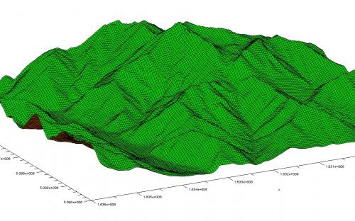 3D render of a portion of Trentino terrain